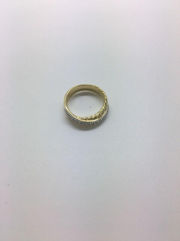 David Yurman 18k 750 Yellow Gold 0.36ct Diamond Crossover Cable Band Ring - 7