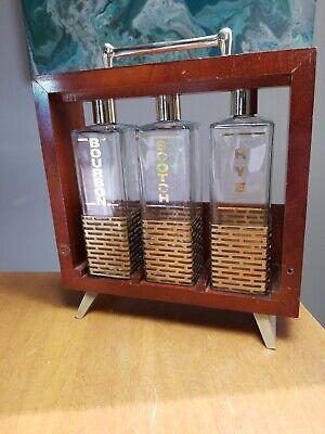 Vintage Mid Century Wood Barware Bourbon Rye Scotch Decanter Bottle Rack Set