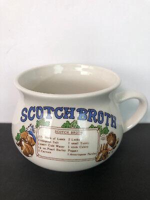 Vintage Ceramic Scotch Broth With Recipe Soup Bowl Mug Crock Cup Scotch Broth Soup