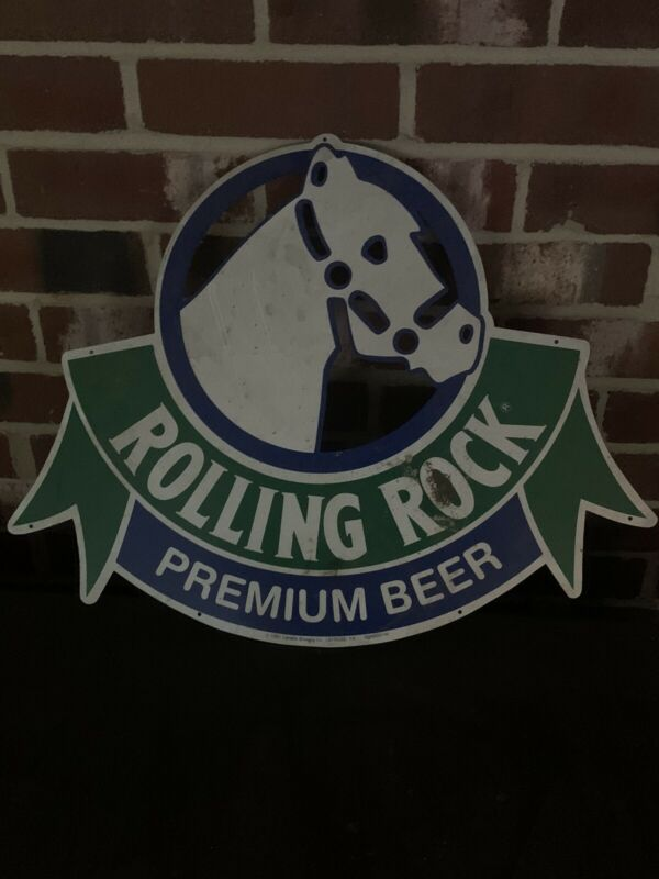 Vintage Tin Rolling Rock Beer Sign Never Hung
