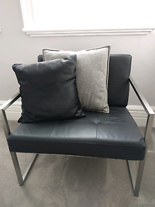Black leather occasional chairs Greenwich Lane Cove Area Preview