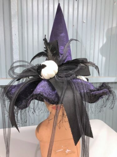 Halloween Witch Purple Extra Fancy Feathered One Size Costume Hat Pumpkins