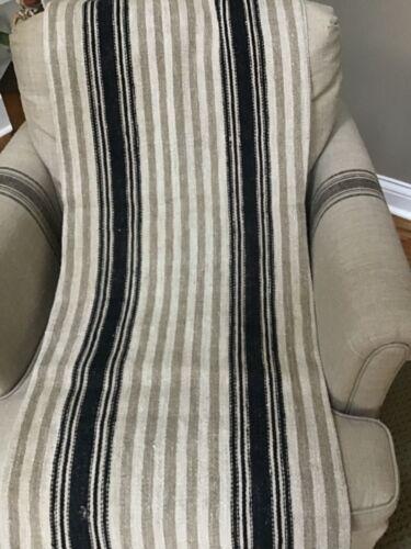 1890 German handwoven linen/hemp grain sack/unusual cobalt/gray stripe pattern