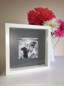 Silver / Grey Sparkle & Glitter Photo Box Frame, Loose Crystals / Diamonds
