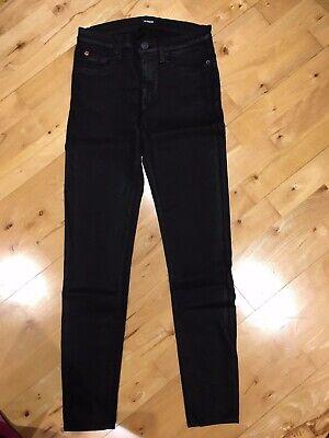 Womens Hudson Jeans Super Skinny Midrise WM407TIP Jet Black Wax Finish Size 27