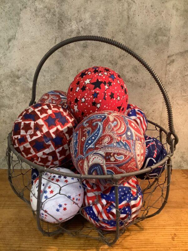 "12 Asst. Patriotic Rag 6/3""&6/2.5"" Balls Farmhouse Bowl Basket Jar Fillers, New"