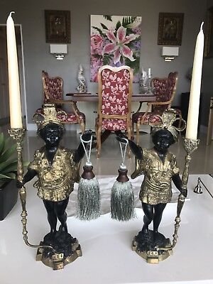 Pair Vintage Bronze Gold Black Baroque Blackamoor Statue Lamp Candle Sarreid 15""