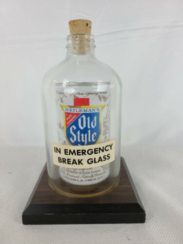 Vintage Old Style Beer Can Under Glass - In Emergency Break Glass