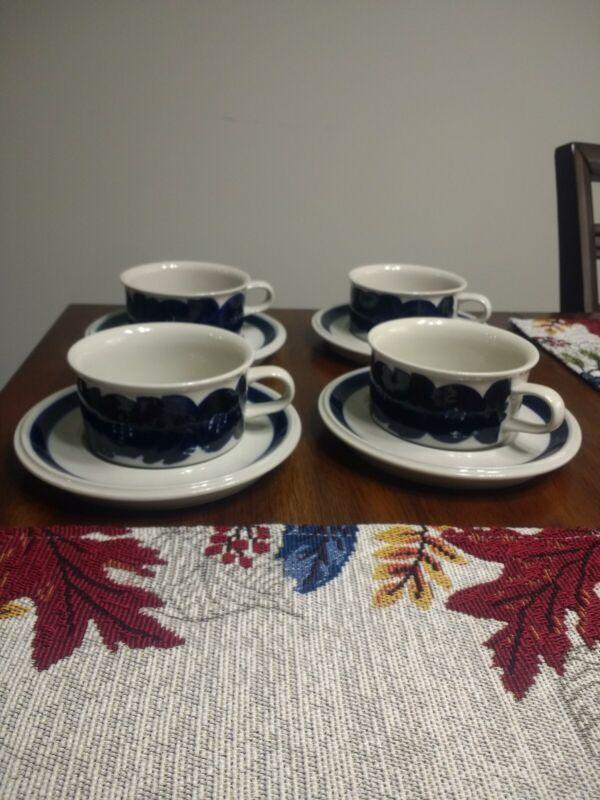 ARABIA Finland Anemone Ulla Procope Blue Demitasse Cups Saucers Lot of 4.