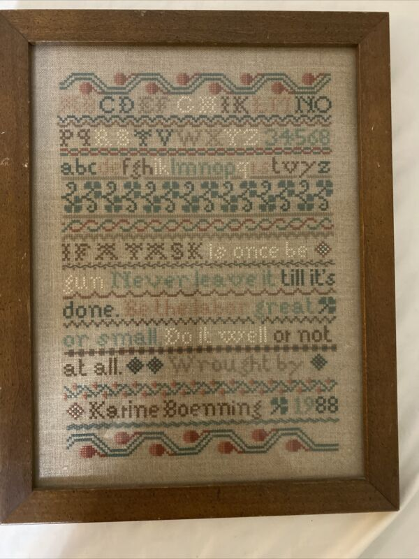 Cross Stitch Completed Framed Country Alphabet Sampler 16 X 13 Handmade 1988