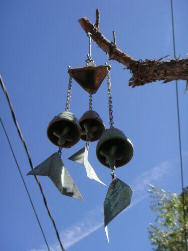 "Arcosanti Soleri 19"" THREE BELL ASSEMBLY 3 Bronze Wind Bells with Bronze Cap NEW"