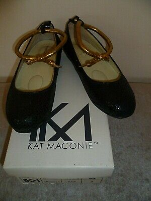 LADIES KAT MACONIE SIZE 5 BLACK LEATHER BALLET FLATS SHOES WITH GOLD ANKLE STRAP