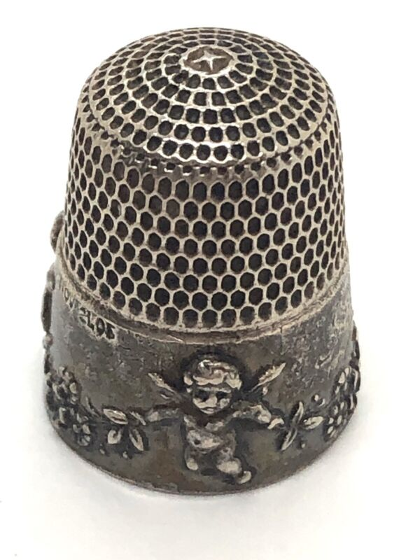 "Antique SIMON BROS ""Cupid"" Sterling Silver Victorian Cherubs Thimble: dated 1905"