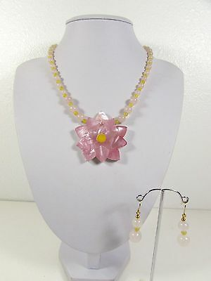Lee Sands Pink Shell Flower Necklace & Earring Set Handmade Hawaii
