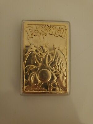 1999 Nintendo Pokemon 24k Gold Plated Charizard Metal Card With A Plastic Case