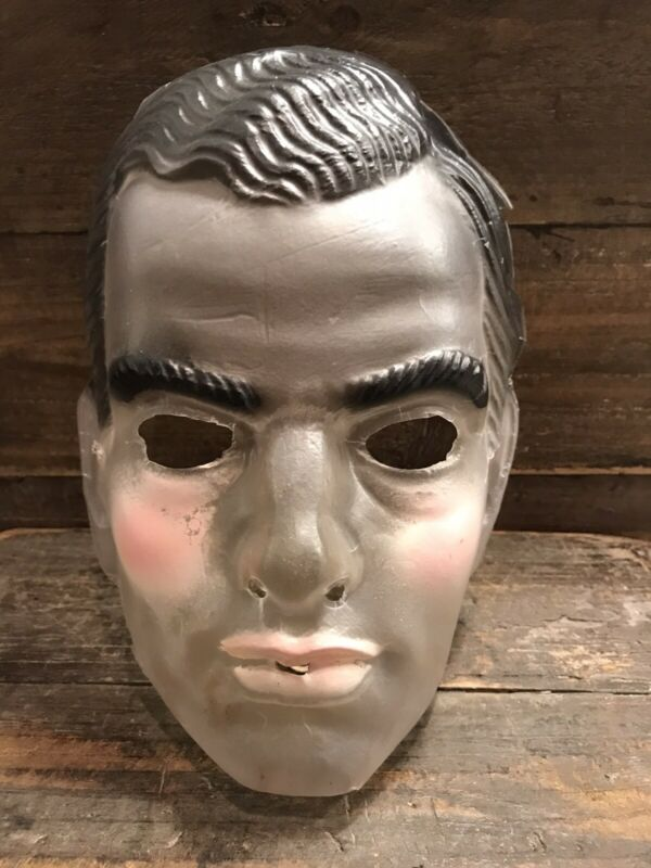 Vintage Halloween Mask Transparent Mens Man Male Plastic Costume 🎃🎃🎃