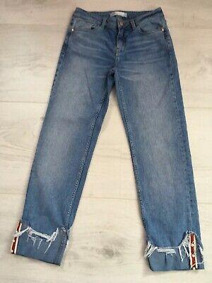 Zara Ladies Light Blue Turn Up Hem Straight Leg Jeans Size 10 Pearl Detail