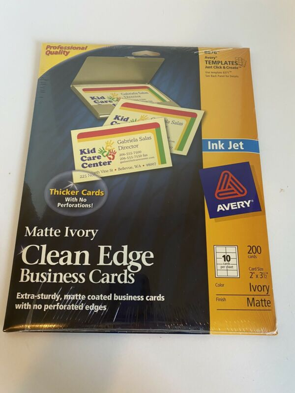 Avery Ink Jet Matte Ivory 8876  Clean Edge Business Cards New Sealed