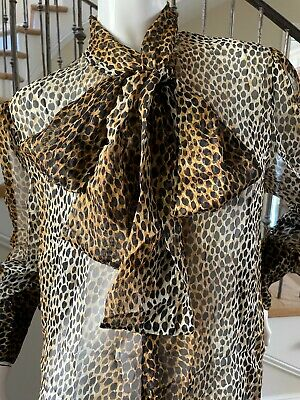 Dolce & Gabbana for D&G Sheer Silk Vintage Leopard Print Pussy Bow Blouse Sz 48