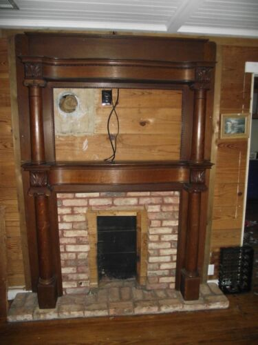Antique Tiger Oak Fireplace Mantel Insert Circa Late 1800s