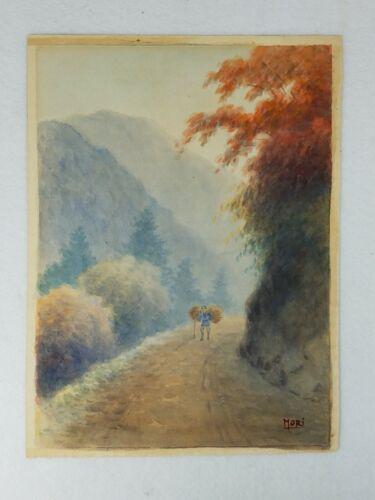 Original Japanese Watercolor Painting by MORI KINSEKI (1843-1921)