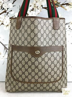 GUCCI Brown Coated Canvas GG Web Large Open Tote Stripe Vintage Bag