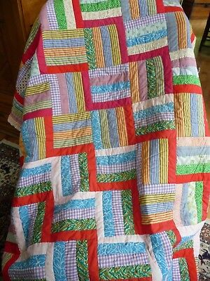 Beautiful-Colorful Log Cabin Pattern Vintage Quilt 82x74