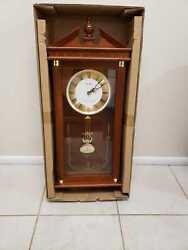 Open Box Seiko Dark Brown Oak Wall Clock with Pendulum 11.5 In Wide - QXH107BLH