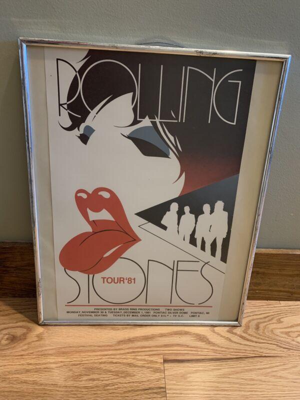 ORIGINAL Rolling Stones 1981 Tour Poster Pontiac Michigan