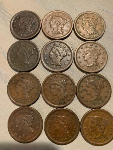 BRAIDED HAIR LARGE CENTS - EXCEPTIONAL CONDITION  - $27.89 EACH