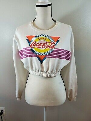 Coca-Cola Women's Size XS Cropped Sweatshirt Retro Elastic Hem Top