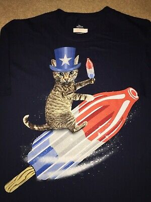 KITTY Cat Kitten pet BOMBPOP rocket USA Flag 4th of July hat MEN'S New T-Shirt - 4 Of July Shirts