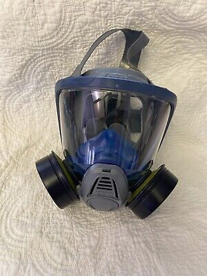 Respirator Mask Full Face Msa Advantage 3000 Twin Port With 2 Cartriges.