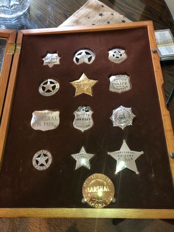 STERLING SILVER THE OFFICIAL BADGES OF THE GREAT WESTERN LAWMEN IN CASE COA