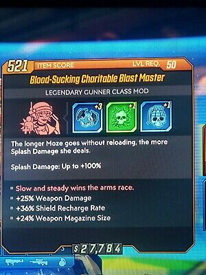 Blast Master Moze Class mod with GOOD Rolls redistribution Vampyr Xbox bl3 New Master Well