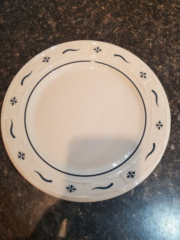 """1 Longaberger Pottery 9"""" Woven Traditions Heritage Blue Dinner Plates"""