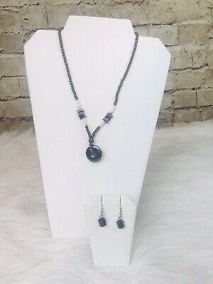 Hematite Necklace Drop Earring Set 18