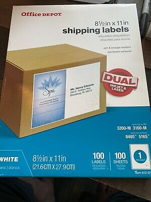 Shipping Labels 8 12x 11in Office Depot 100 Sheets