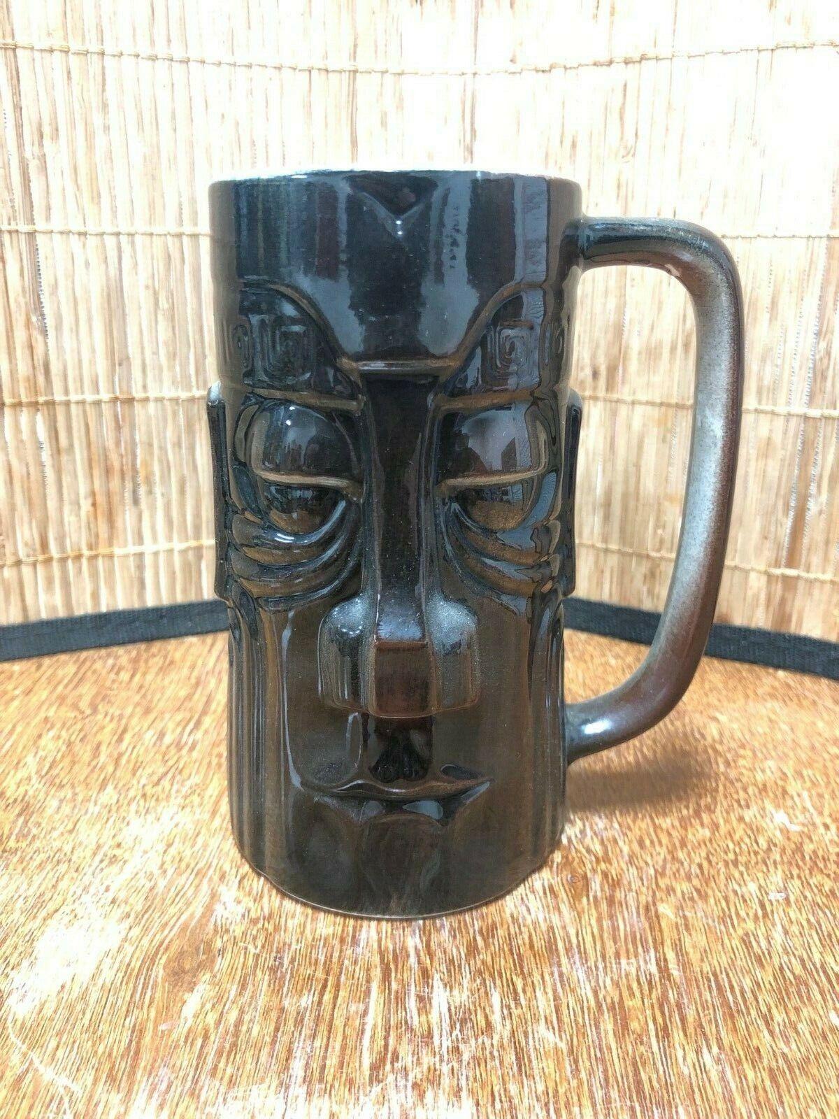 Vintage Wales Westwood Style Gloss Brown Handled Tiki Mug Cup