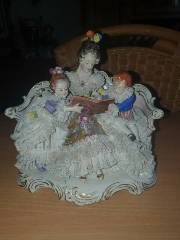 Antique German Dresden Volkstedt Lace Porcelain group