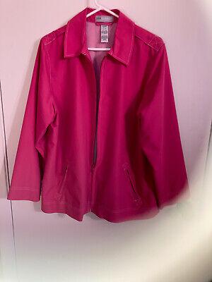 Women's Sag Harbor Pink Zip Jacket Size 16W!