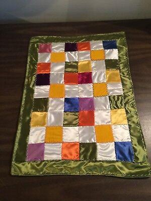 Vintage Handmade Doll's Quilt Colorful Satin + Velvet Feather Stitch Trim