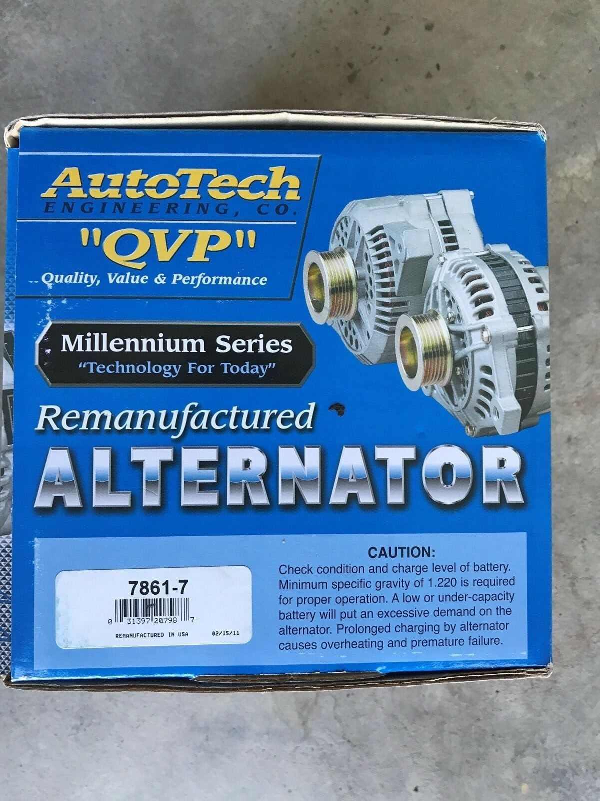 Autotech Re-manufactured Alternator Millennium Series 7861-7 3