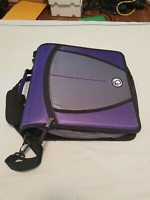 Case-it Mighty Zip Tab 3-inch 3 Ring Zipper Binder Purple With Carrying Strap