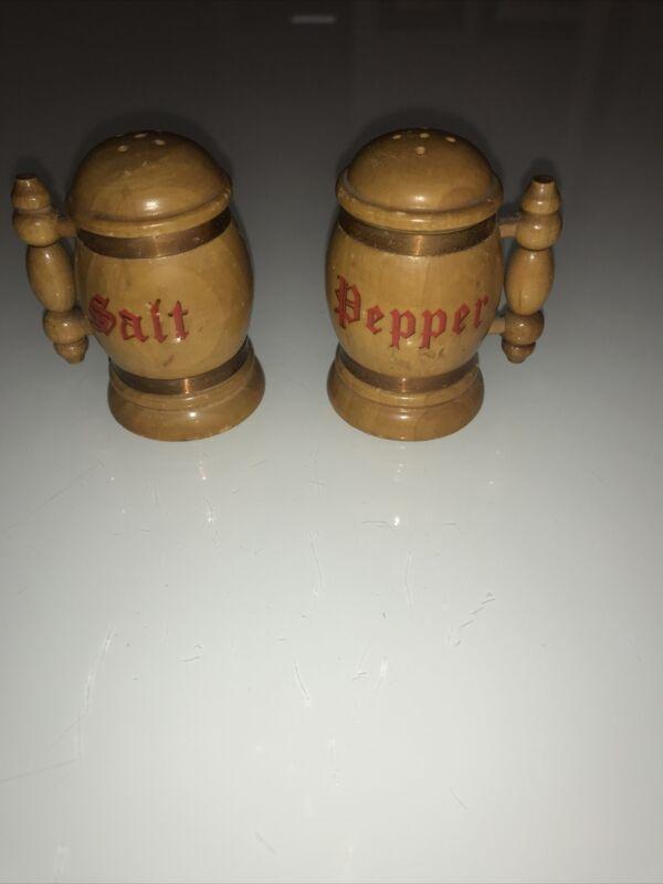 Wood Mug Salt and Pepper Shakers Vintage