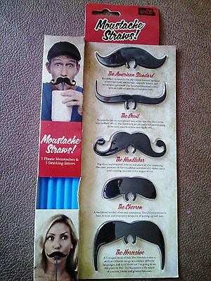Noki Moustache Straw Clips - Set of 5 - Moustache Straw