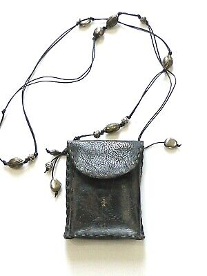 $325 Henry Beguelin Cuir Small Black Distressed Leather Crossbody w/Silver Beads
