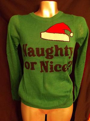 NWT WOMENS  NAUGHTY OR NICE GREEN CHRISTMAS SWEATER SO CUTE!!! - Naughty Christmas Sweaters