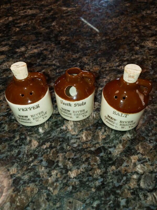 Vintage Paden City Artware Moonshine Whiskey Jug Salt And Pepper Shakers New...