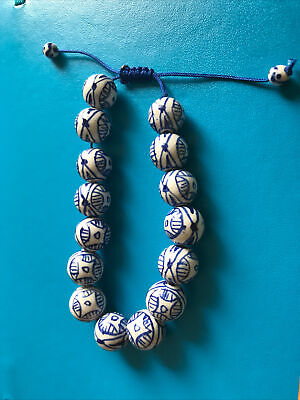 Intricate Art Deco Blue /& White Glass Beads with Golden Lotus